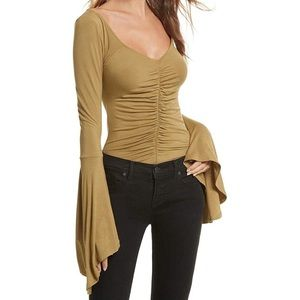 Free People What A Babe Knit Top Bell Sleeves